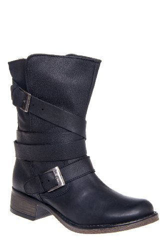 Brewzzer Low Heel Mid Calf Buckled Boot