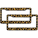 A Set of 2 Made in USA Plastic License Plate Frame Safari Animal Series - Leopard Tan