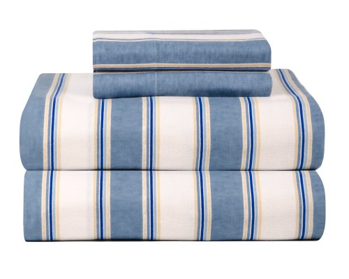 Celeste Home Ultra Soft Flannel Sheet Set With Pillowcase, California King, Blue Stripe front-718975