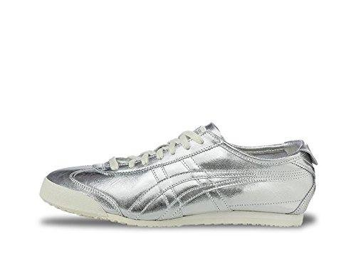 Onitsuka Tiger by Asics Unisex Mexico 66 Silver/Silver Sneaker Men's 6.5, Women's 8 Medium