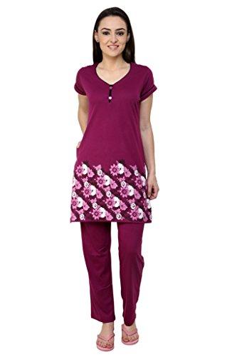TAB91 Women's Printed Night Suit Set (T-shirt & Lower)