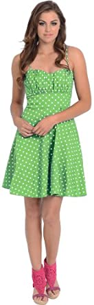 50's Retro Rockabilly Polkadot Dress Sundress, L, Lime