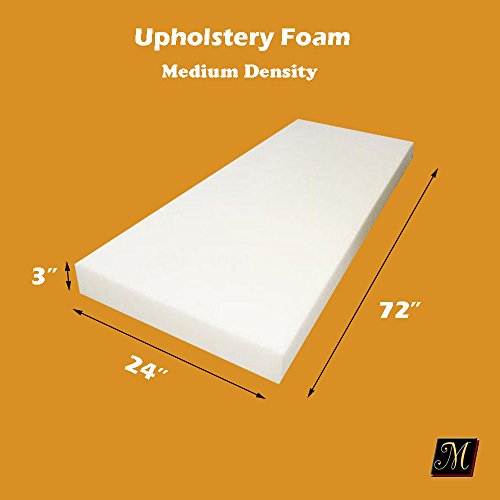 "Best Buy! 3"" x 24"" x 72"" Upholstery Foam Cushion (Seat Replacement , Upholstery Sheet..."