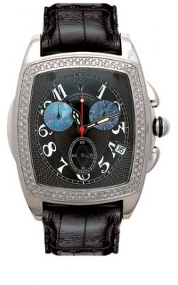 Aqua Master Men's Grun Series Stainless Steel 1.50ctw Diamond Watch with Black Dial And Black Leather Strap W#53