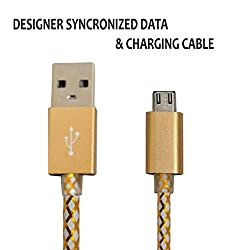 Hello Zone Exclusive Designer Series Micro USB Data Charging/Sync Cable for Samsung Galaxy C7 -Gold