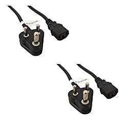 (2 Pack) 1.5m Storite IEC Mains Power Cable India Plug Lead Cord For Kettle Pc Monitor and Printer - Black