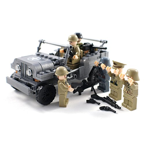 WW2 US Army Jeep and Military Minifigure Soldiers - Building Block Toy (Military Building Blocks compare prices)