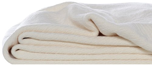 Eddie Bauer 200606 Herringbone Cotton Blanket, Twin, Bone front-990862