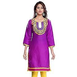 Janasya women's Purple solid kurtis