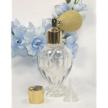 Vintage Style Refillable Empty Glass Perfume Bottle Gold Bulb Spray Atomizer 1.64 Oz