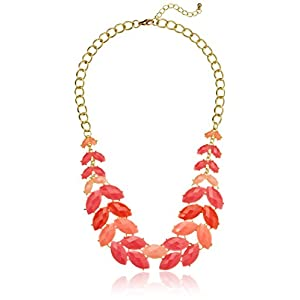 Tonal Pink Cabochon Fern Statement Necklace, 21