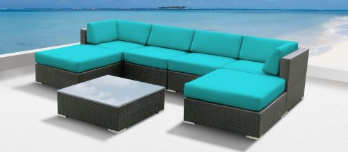 Luxxella Outdoor Patio Wicker MALLINA Sofa Sectional Furniture 7pc All Weather Couch Set TURQUOISE