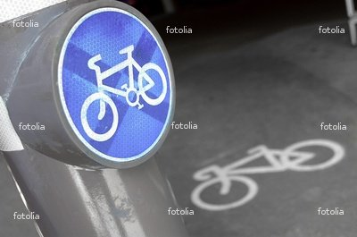 """Wallmonkeys Peel and Stick Wall Decals - Cycling Lane Sign - 24""""W x 16""""H Removable Graphic"""