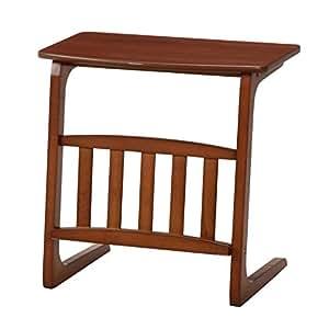 不二貿易 ソファ サイド テーブル ノルン マガジン ラック 付 ダークブラウン 96553