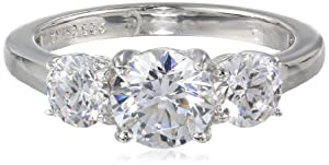 Sterling Silver Swarovski Zirconia 2cttw Round 3 Stone Anniversary Ring by Elite Group International NY Inc.- ACC