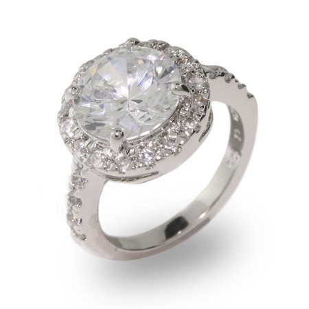 Stunning Round Brilliant Cut CZ Engagement Ring Size 7 (Sizes 6 7 8 9 Available)