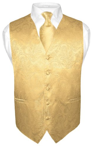 Men's Gold Color Paisley Design Dress Vest NeckTie Set size XLarge