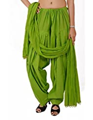 Stylenmart Parrot Green Semi Patiala Salwar With Dupatta