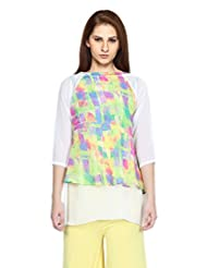 Fashion205 Printed Georgette Green And Off White Top - B0102956O8
