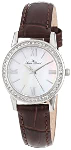 Lucien Piccard Women's LP-12006-02MOP-BRW Veleta White Mother-Of-Pearl Dial Swarovski Crystal Accents Brown Leather Watch