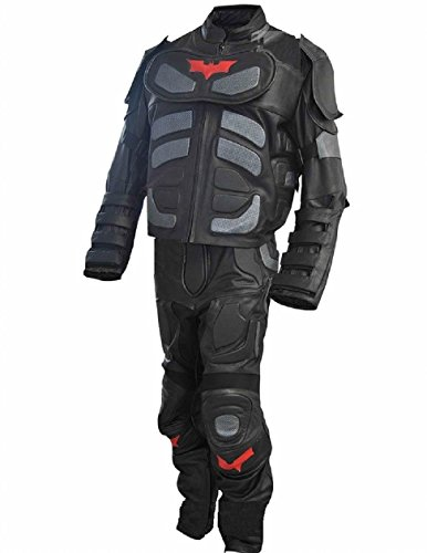 [Bestzo Men's Fashion Dark Real Leather Knight Costume Batman Suit Cow Leather Black XL] (Dark Knight Costumes Real)
