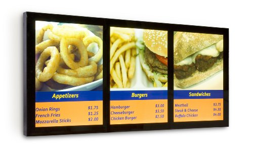 Illuminated Menu Board With (3) 18X24 Poster Display Areas, T5 Backlit Frame With Front-Loading Design, Magnetic Lens, Black