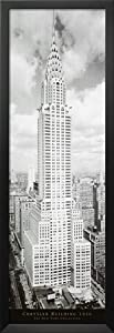 Professionally Framed New York City Chrysler Building Photo Poster Photo - 12x36 with Solid Black Wood Frame