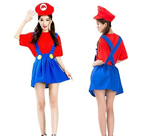 スーパーマリオ マリオ 風 衣装3点セット (シャツ/スカート/帽子) コスチューム フリーサイズ
