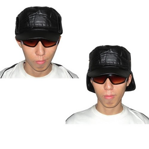 Mens Faux Leather Classic Flat Driving Headwear Cap Hat With Ear Flap - Black