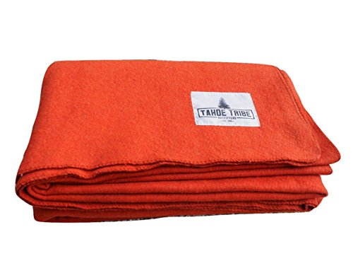 Virgin Merino Wool Camping Blanket By Tahoe Tribe Outfitters - Survival Gear & Emergency Supplies for Outdoor Enthusiasts (Pumpkin Orange) (Tahoe Gear compare prices)