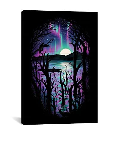 Night with Aurora Print Gallery-Wrapped Canvas Print