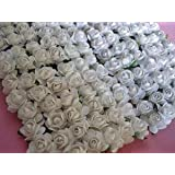 "144pc Mulberry Paper 1/2"" Rose Flower with Stem (white)"
