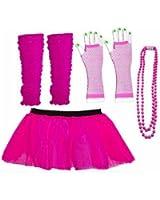 Four Peice Adult Tutu Set Pink Neon 8-14 Tutu Legwarmers Fishnet Gloves Beads 80s Fancy Dress Costume (RB Fashion Clothing)