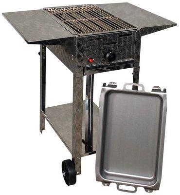 Gasgrill-Kombibräter 4 kW fahrbar mit Grillrost, Stahlpfanne und Abstellplatten 1-flammig Gasgrill Grill Gastrobräter Profigrill Verein günstig kaufen