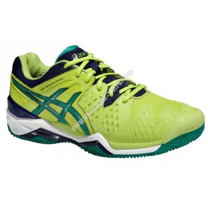 Asics Gel Resolution 6 Clay Gs Lime/Verde/Blu Scarpa tennis (ITA 38 US 5,5)