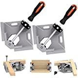 TAIWAIN Right Angle Clamp 90 Degree Positioning Holder 2PCS, Woodworking Vice Miter Tool Set Adjustable Wood Corner Clamps for Picture Photo Frame,Boxes,Door,Cabinet,Drawer Carpenter (Grey) (Color: Grey, Tamaño: 30*20*10cm)