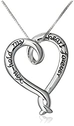 """Silver """"You Hold My Heart Forever"""" Heart Pendant Necklace, 18"""""""
