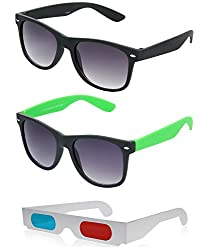 Hrinkar Wayfarer Grey Lens Black Frame, Wayfarer Grey Lens Black Frame & Paper 3D Glass - HCMB263