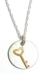 Precila G. Designs Charms of Life Collection Sterling Silver Necklace with Round Heart Key Pendant Stands for