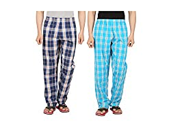Orange and Orchid Men's Cotton Woven Pyjama Night Pant Pack of 2