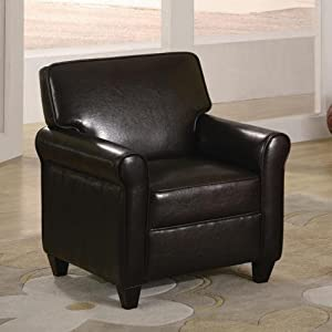 Espresso Kids Chair Seat Childrens Brown Leather - Like from Crownmark