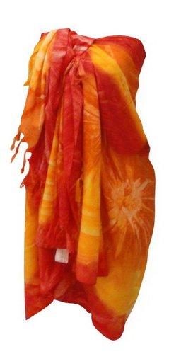 La Leela Multicolor Printed Swim Sarong Red Orange