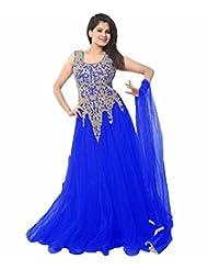 Trendigo FashionHub Women's Royal Blue Soft Net Fusion Lehenga Saree [JCN1077 (FD_A5)]