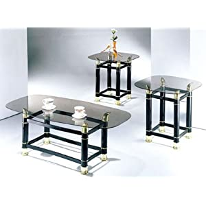 Cheap Coffee Table Sets 3 Piece Pack 2 Tube Black Finish Horn Coffee