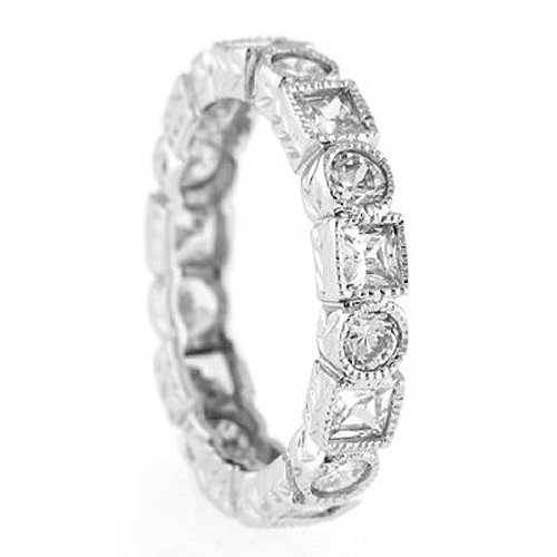 Silver Antique Art Deco Style Cubic Zirconia Eternity Band