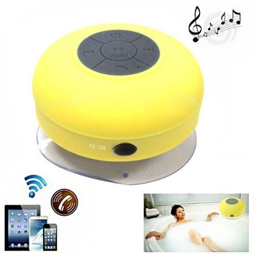 Baudio Waterproof Wireless Bluetooth Shower Speaker With Suction Cup For Showers, Bathroom, Pool, Boat, Car, Beach, Outdoor / With Hands Free Speakerphone Compatible With All Bluetooth Devices Iphone 5S And All Android Devices (Yellow)