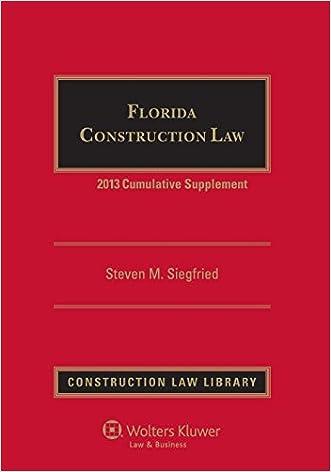 Florida Construction Law 2013 Cumulative Supplement