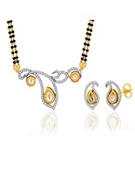 "Peora 18 Karat Gold Plated Kundan ""Sara"" Mangalsutra Earrings Set (PM64GJ)"