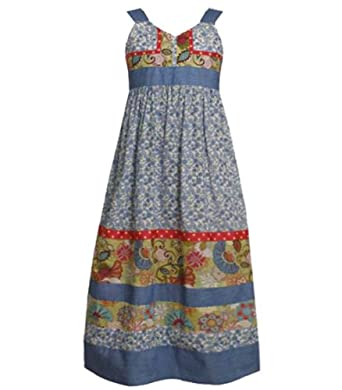 Size-10 BNJ-3118S BLUE MULTI VINTAGE ETHNIC-FLORAL PRINT Girl Spring Summer Maxi Dress,S43118 Bonnie Jean 7-16