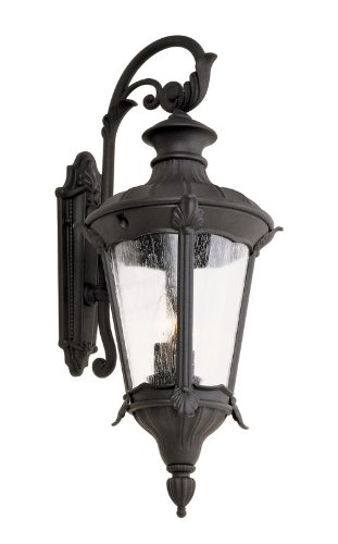 Trans Globe 40162 Swi Imperial Leaf - Two Light Outdoor Wall Mount, Swedish Iron Finish With Clear Seeded Glass